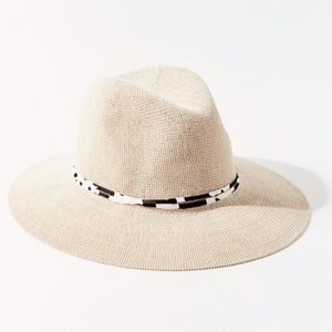 Penny Animal Print Leopard Trim Panama Hat